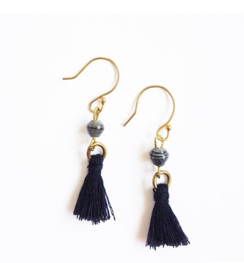 Recycled Paper Bead Tassel Earrings - Quarry
