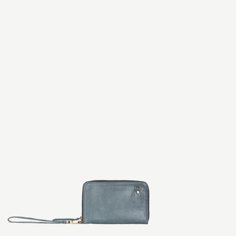 Kosha Blue Leather Wallet/Crossbody-Rustic Pinstripe