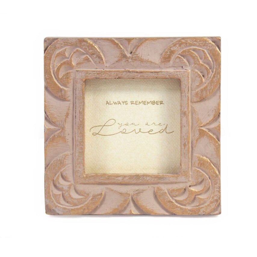 Hand Carved Mini Mango Message Frame in Gold