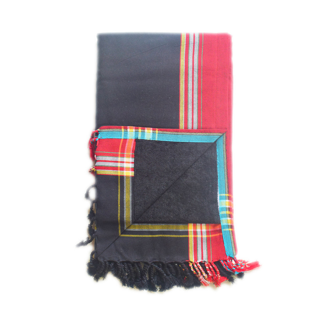Swahili Coast - Black and Red Kenyan Beach Towel with Pocket