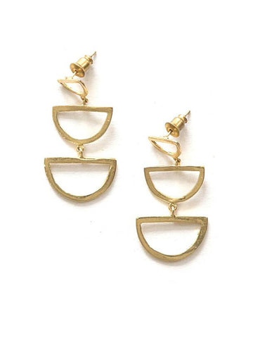 Reverberation Stud Earrings - Brass
