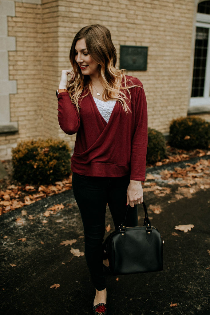 Faux Wrap Pullover - Pomegranate