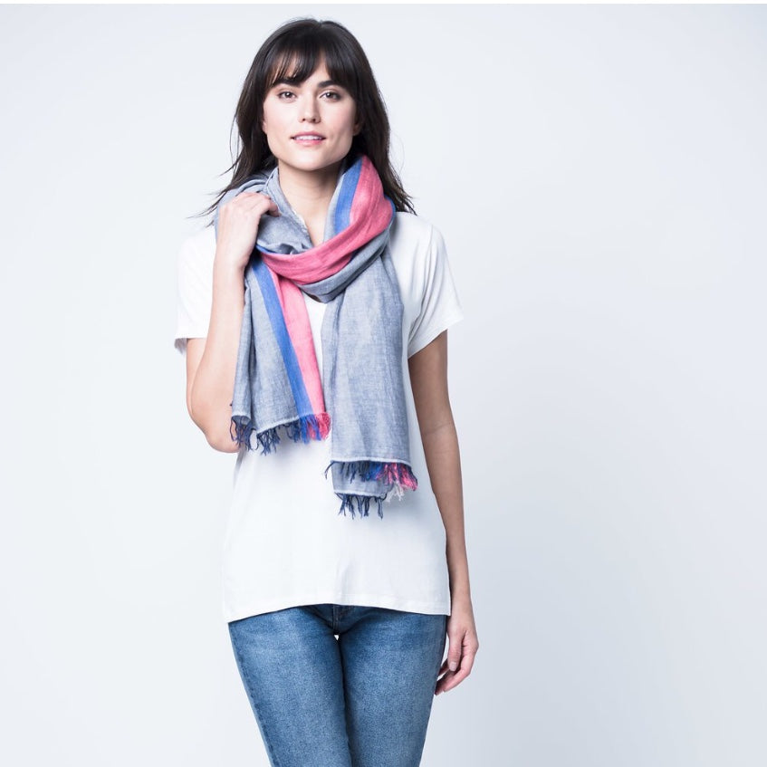 Blue Tres Cotton Scarf
