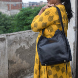 Rekha Black Leather Bucket Bag - Indian Lace