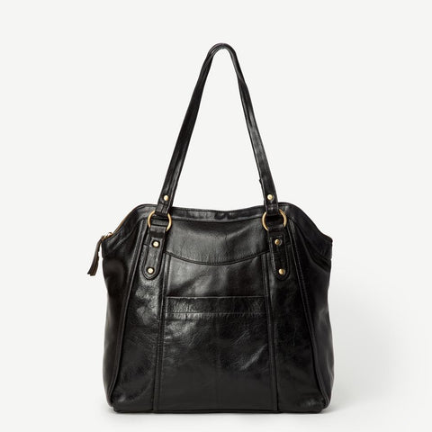 Keya Black Leather Tote - Indian Lace