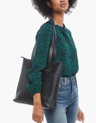 Elvia Top Zip Tote - Black