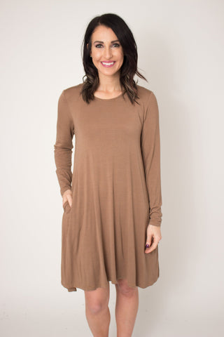 Acorn Pocket Long Sleeve Swing Dress