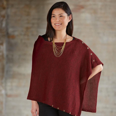 Alpaca Poncho - Garnet Heather