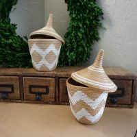 Sisal Lidded Peace Basket - Tea and Natural White