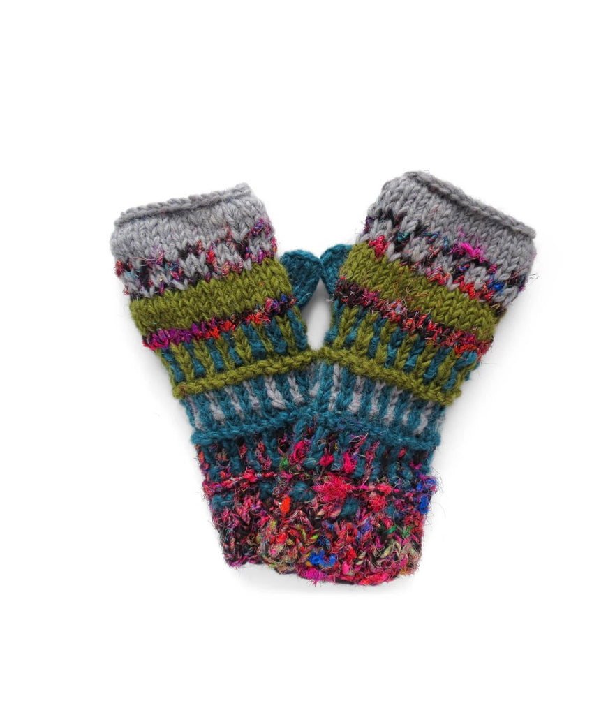 Himalayan Wool Knit Half Mitten- Lake