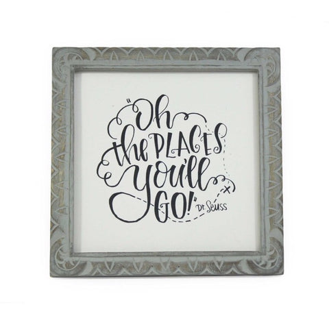 Hand Carved Mango Message Frame -  Gray