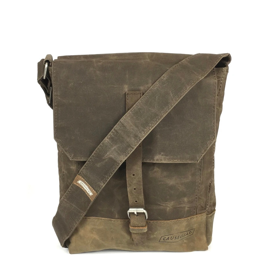 Messenger Bag Taupe Waxed