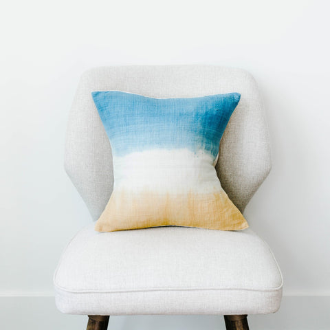 Shibori Natural Dyed Silk Pillow- Indigo and Tumeric