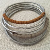 Bangles with Leather Wrap