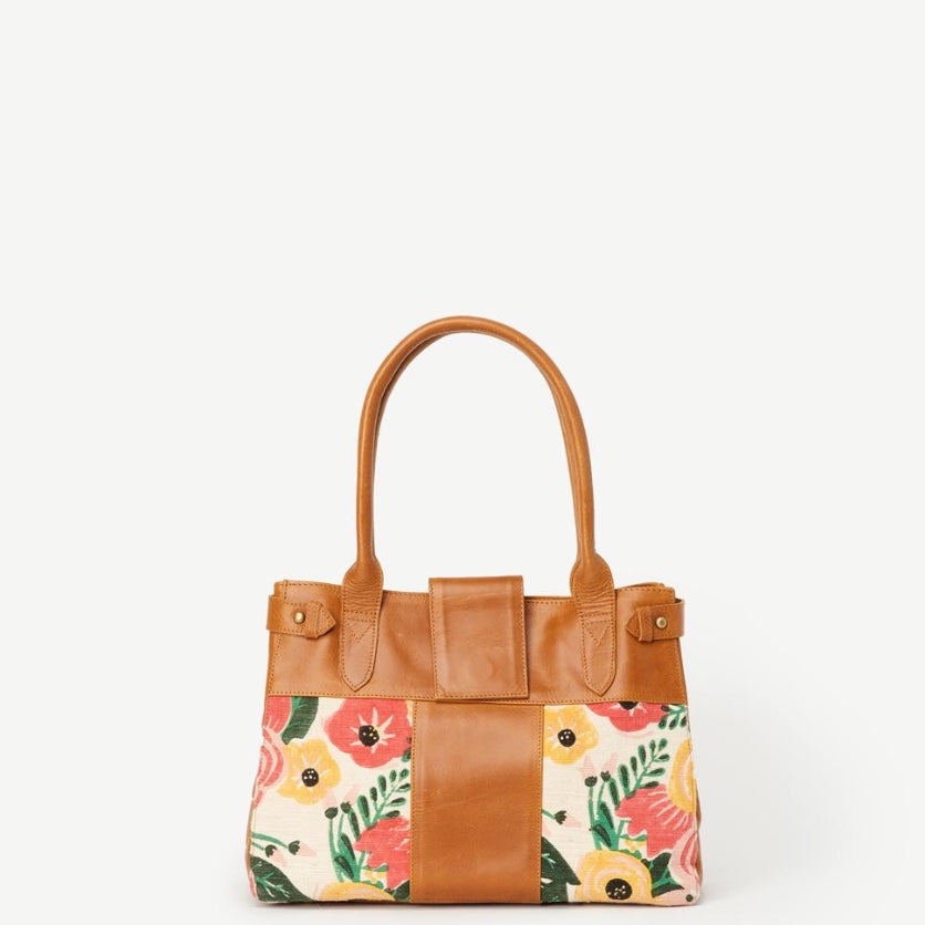 JOYN Suneil Floral Print Leather Handbag