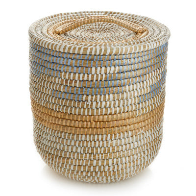 Tall Lidded Seashore Basket (Local Pickup/Local Delivery Only*)