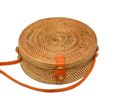 Camilla - Circle Rattan Straw Shoulder Bag