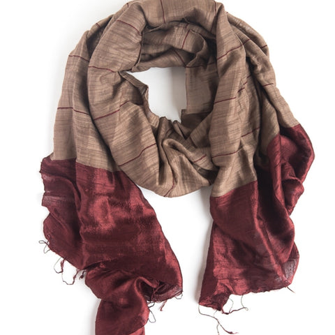 Silk Dipped Scarf - Wine