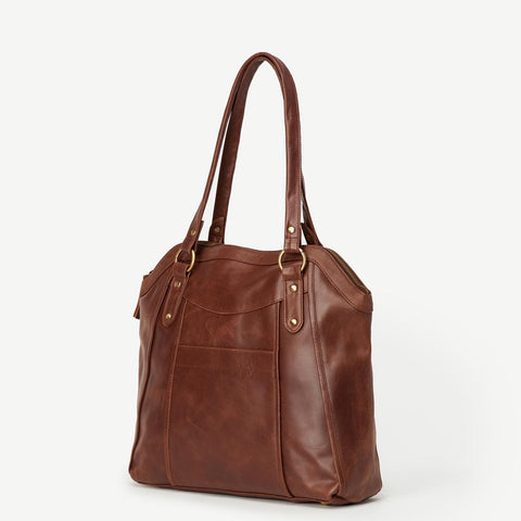 Keya Brown Leather Tote - Signature Print
