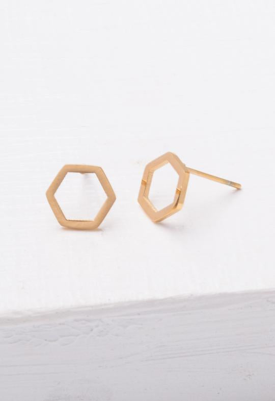 Justine Gold Hexagon Earrings