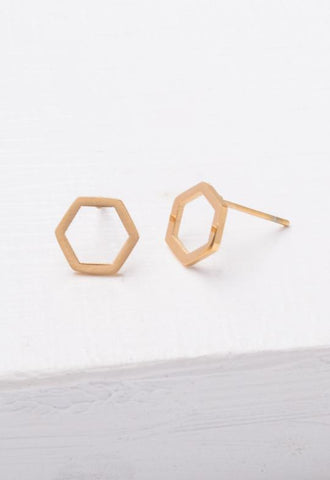 Starfish Project, Inc - Justine Gold Hexagon Earrings