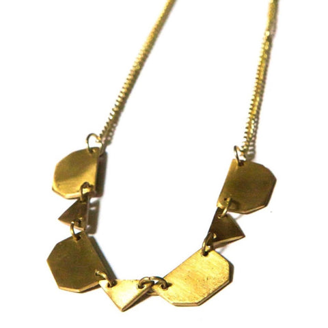 Hidden Valleys Geometric Necklace - Brass
