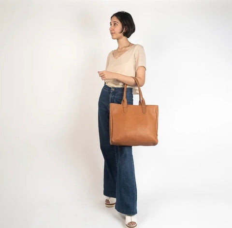 Heena Light Brown Leather Tote