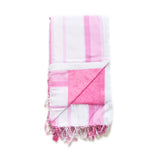 Swahili Coast - White and Pink Stripe Kenyan Beach Towel with Pocket