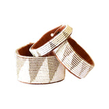 Swahili Coast - Medium Silver Tri Leather Cuff