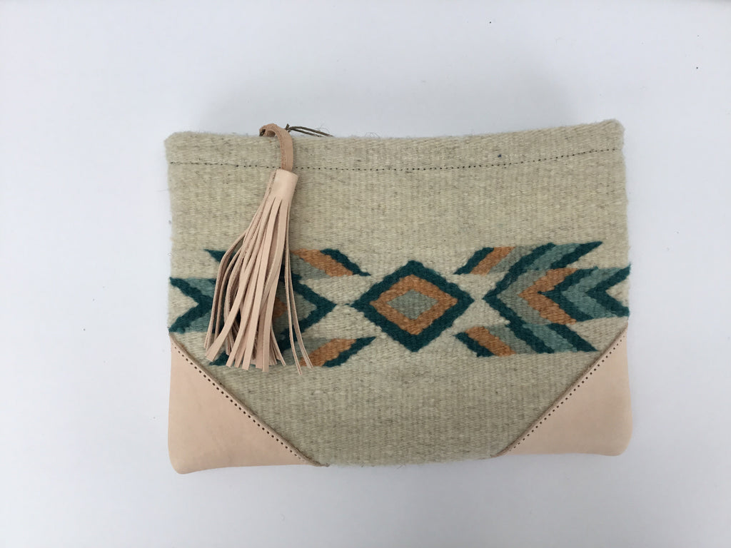 Papaya + Emrald Leather + Wool Clutch