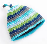 Stripey Hat Blue - 0-6 Months