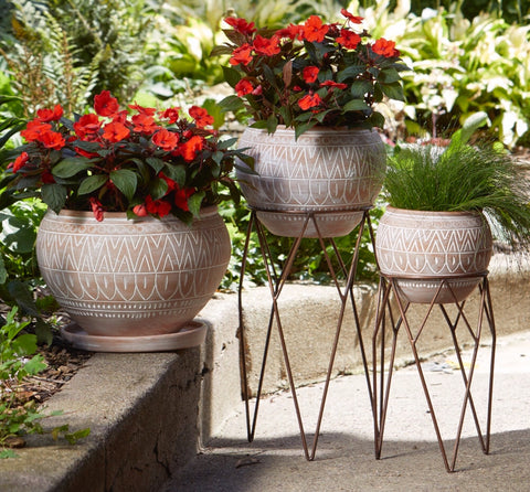 Globe Planters-Medium Planter with Saucer (Local Pickup/Local Delivery Only)