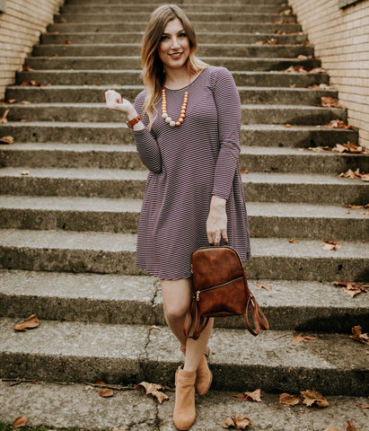 Cranberry Pocket Long Sleeve Swing
