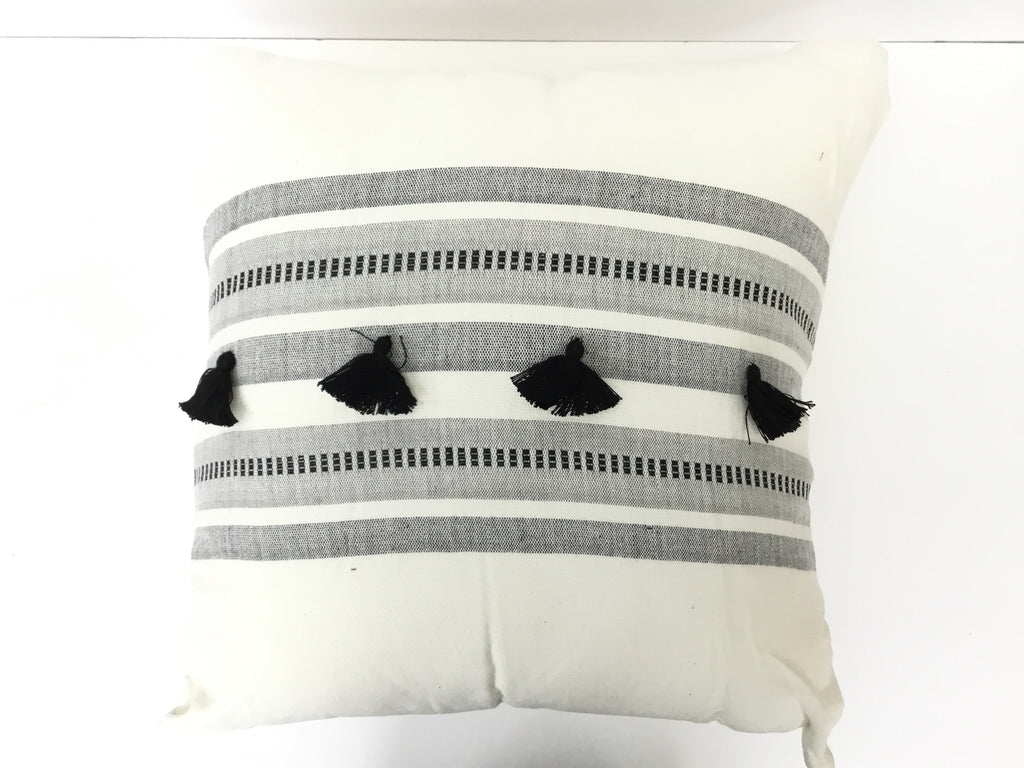 Bengali Stripe Square PIllow with Tassels