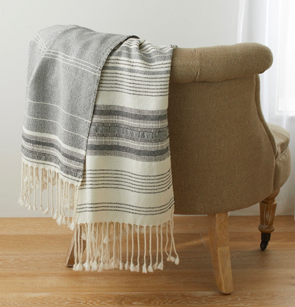 Black and White Asymmetrical Stripe Throw
