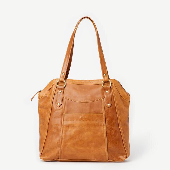 Keya Camel Leather Tote - Japanese Garden
