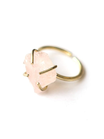 Rose Quartz Pronged Ring