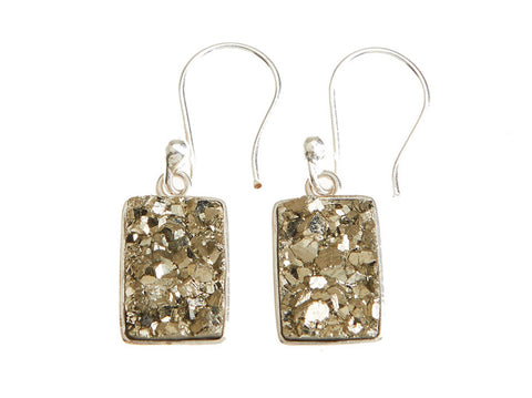 Pyrite Druzy Drop Earrings