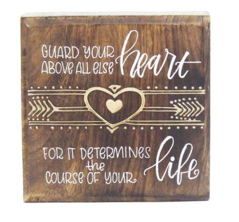 Inspirational Wood Art- Guard Heart