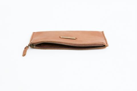 Zippered Pouch - Stone Leather