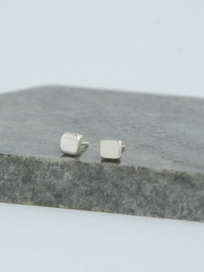 Tiny Square Sterling Studs