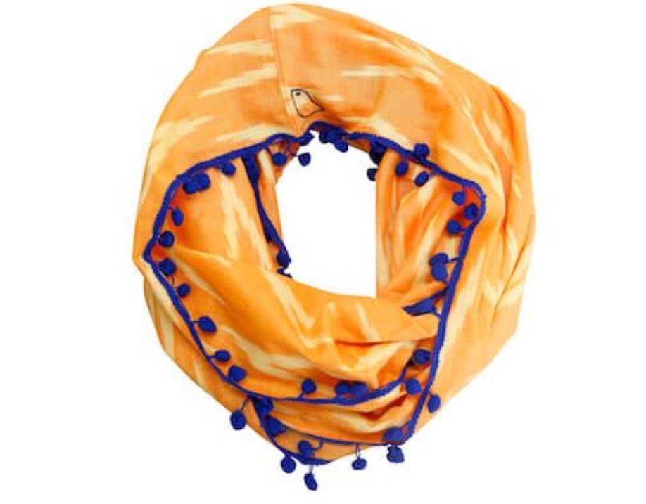 Bright Orange and Blue Infinity Scarf