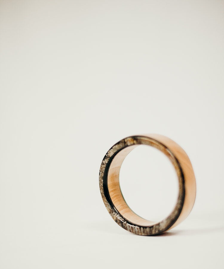 Stacked Wood + Horn Circle Bangle