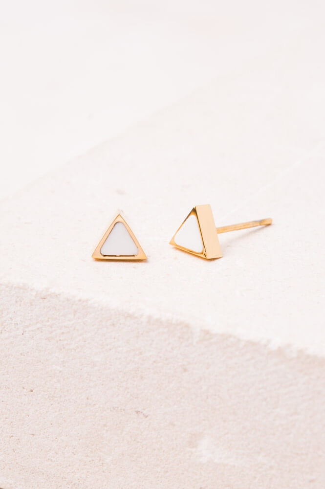 Melanie White and Gold Studs