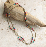 Long Sari Bead and Brass Necklace