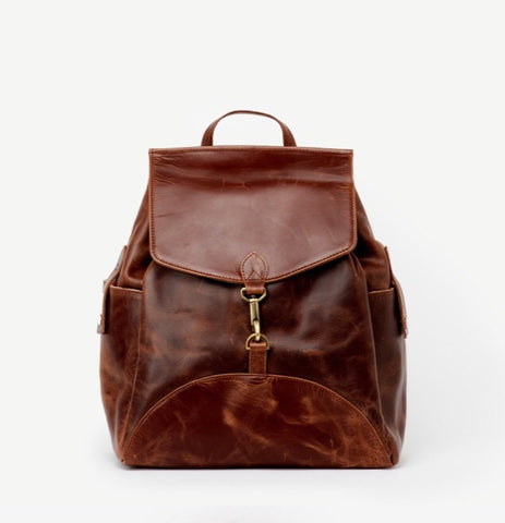 Himani Brown Leather Backpack