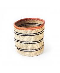 "8"" Sisal Accent Basket - Khaki/Black"
