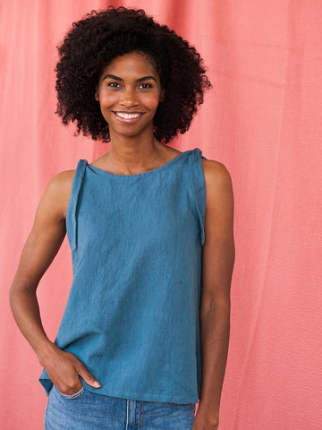 Two Way Linen Tank - Blue