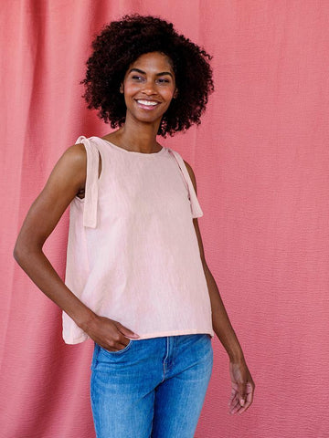 Two Way Linen Tank - Pink