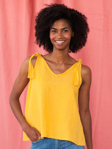 Two Way Linen Tank - Yellow